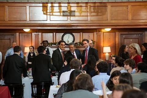 Chubb Fellowship student dinner in Timothy Dwight Dining Hall honoring Leonel Fernández