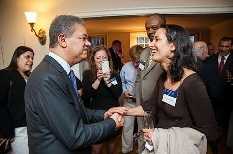 Leonel Fernández speaks with guests at Chubb Fellowship reception