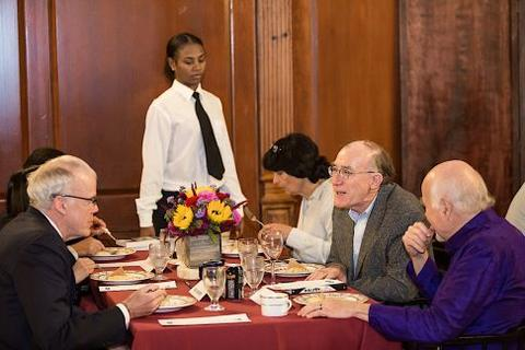 Bill McKibben attends Chubb Fellowship student dinner at Timothy Dwight Dining Hall