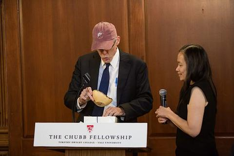 Mary Lui presents Bill McKibben with Chubb Fellowship gifts