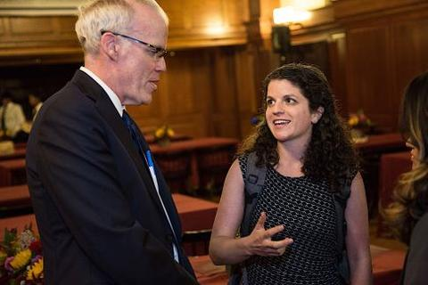 Bill McKibben greets students post Chubb Fellowship dinner