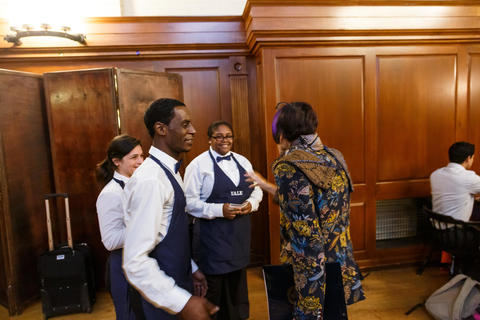 Representative DeLauro greets dining hall staff at Chubb Fellowship Dinner