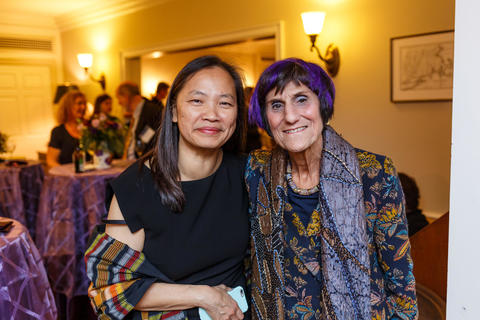 Chubb Fellow-Fall 2019 - Rosa DeLauro Poses with Head of Timothy Dwight College, Mary Lui