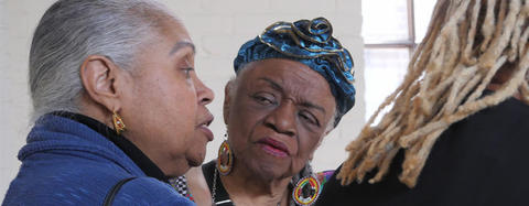 Faith Ringgold - Artist, Writer, Activist | Chubb Fellow 2017 to 2018 interacting with guests at her event.
